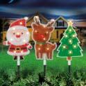 Santa/reindeer/christmas tree garden stake set