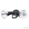 Compact security twin flood light black